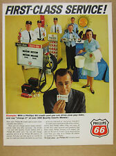 1965 Phillips 66 gas pump attendants credit card motels photo vintage print Ad