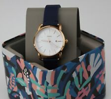 NEW AUTHENTIC FOSSIL THE COMMUTER ROSE GOLD BLUE LEATHER WOMEN'S ES4334 WATCH