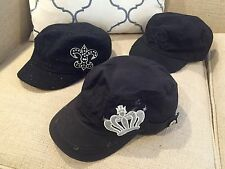 Lot Of 3 Women's Hats Caps - Black - Newsboy Cabbie Style Crown Fleur De Lis
