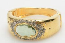 Alexis Bittar gold plate pave crystal quartz stone wide hinge cuff bracelet $495