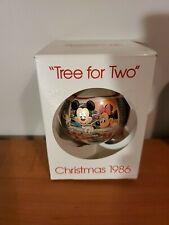 Walt Disney Schmid Glass Christmas Ball Ornament 1986 Tree For Two Mickey Minnie