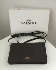 COACH SIGNATURE FOLDOVER CLUTCH PURSE CROSSBODY DEBOSSED OXBLOOD ~ NEW WITH TAGS