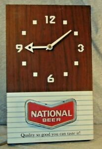 Vintage National Beer Electric Metal Advertising Wall Clock Tested & Working