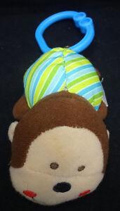 "Carters Monkey Vibrating Brown Tan Baby Crib Car Seat Pull Toy Infant Plush 4"""
