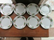 """8 - Vintage Christmas China WHITE w/ Holly Berries Salad Plates 8"""" Gold Rim"""