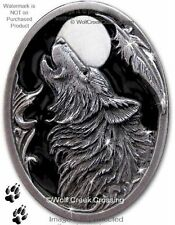 MIDNIGHT MOON WOLF PIN for MALE or FEMALE - WOLVES WILDLIFE ART JEWELRY GIFT #E