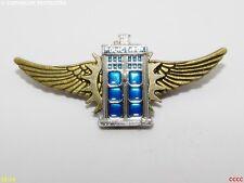 steampunk goth brooch badge pin silver flying tardis Dr Who policebox scifi geek