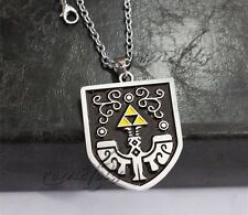 "The Legend of Zelda Link Shield 2"" Metal Pendant Necklace Chain US Seller"