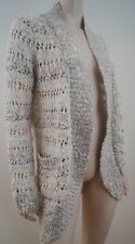 ANTHROPOLOGIE Loose Knit Cream Silver & Ivory Long Sleeve Cardigan Top M BNWT