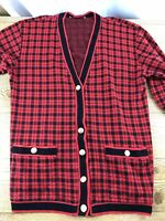 Cathy Daniels M Button Front Cardigan Red Black Gold Buttons Vintage Plaid