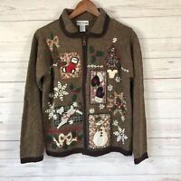 B.P. Design Full Zip Ugly Christmas Sweater Womens Sz Small Brown Snowman Tree