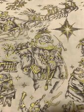 GOLD METAL NOEL CLASSIC TOILE COTTON FABRIC/FRENCH SCENES/VINTAGE STYLE/ONE YARD