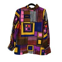 Vintage 1960s 70s Mardi Modes Psychedelic Geometric Tunic Top Womens Size S/M