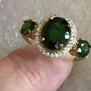 NIB 10K Gold Russian Chrome Diopside & White Zircon Ring Size 8