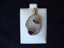 VINTAGE NATURAL TOPAZ AND AMETHYST ON QUARTZ W/GOLD PLATED ELECTROFORMED PENDANT