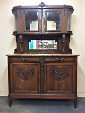 Antique French Walnut Art Deco Sideboard Marble Swags Hooves Magnificent - TM050