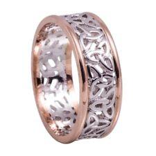 10ct White Rose Gold Irish Celtic Trinity Knot Wedding Band Ring Size O RRP