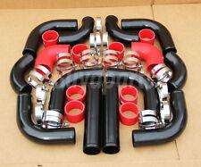 """12pcs JDM Black Red 2.5"""" Universal Piping Hose Clamp Kit E30 M3 E36 325 328 E46"""