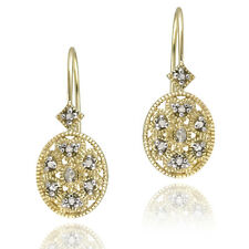 Gold over Silver Diamond Filigree Leverback Earrings