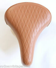 LADIES BIKE SADDLE Vintage Bicycle SEAT TAN BROWN Quilted Vinyl COMFORT Springs