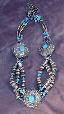 ANTIQUE 19C TIBETIAN LARGE SILVER TURQUOISE,TIGER EAYS, LAPIS LAZULI NECKLACE