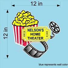 CUSTOM VINYL WALL DECAL HOME THEATER WITH MOVIES REELS POPCORN AND YOUR NAME