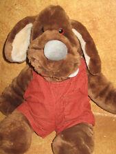 Vintage Wrinkles Stuffed Plush Dog Hand Puppet 1981 Ganz Brown Bibs