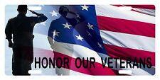 VETERAN SOLDIER USA FLAG Custom License Plate Military Emblem HONOR Version