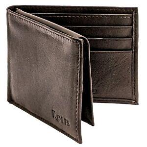 Rolfs Bifold Mens Black Wallet RFID ID Window Genuine Leather Credit Card Holder