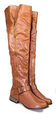legdnd-38 New Fashion Over Knee Casual Zipper Low Heel Women Boots Tan 9