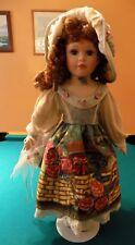 "23"" Porcelain Doll w/ Garden painted Dress Flowers Sausage Link Curls Gorgeous"