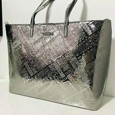 New Moschino Designer Large Tote Handbag Gunmetal silver love logo
