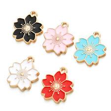 10PCS MIX Enamel Flower Charms For Earrings Pendants Necklace Jewelry Findings