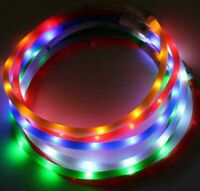 SOFT SILICONE LED FLASH dot LIGHT-UP glow el USB rechargeable Pet Dog Cat COLLAR