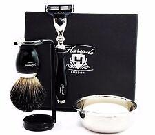 Complete Shaving Set | Gillette Mach3 & Pure Black Badger Brush | Men's Gift Kit