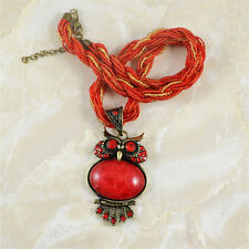 New Millet Chain Red Crystal Owl Resin Pendant Vintage Jewelry Fashion Necklace