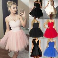 Women Formal Strappy Short Tulle Dress Dance Wedding Evening Party Prom Cocktail