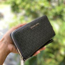 Michael Kors Large Leather Credit Card Holder id Wallet Wristlet Black Silver MK