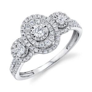 Oval Halo Round Diamond Engagement Ring Three 3 Stone 14K White Gold Natural