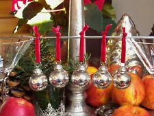 5 kleine Shabby Weihnachtskugeln Glas Bauernsilber Silber am roten Samtband
