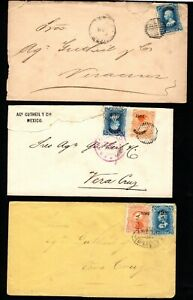 Mexico 19c Covers, fronts, on piece (6) - damaged