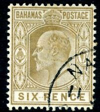 Bahamas - 1902-10 6d Brown usato con CD e lieve Penna annullare SG 66 BELLE USATO
