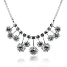 WHite Gold Plated Jewelry Pendant Chain Crystal Wedding Bib Statement Necklace
