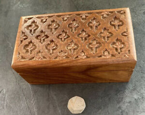 Hand Made Carved Solid Wooden box with brass inlay - Indian