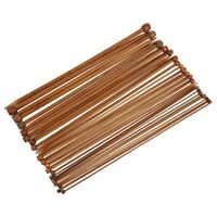 36Pcs Single Pointed Carbonized Bamboo Knitting Needles of 18 Different Siz R8L8