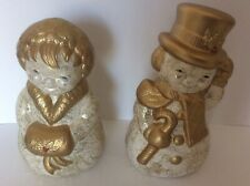 Vintage Gold Flocked Ceramic Mr & Mrs Snowman Christmas Figurine Statue Pair 11�
