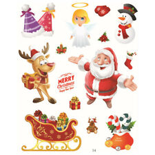 3 Sheets Christmas Santa Claus Stickers Removable Window Wall Xmas Decoration