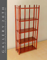 GORGEOUS! MID CENTURY MODERN CHERRY STAINED HANDCRAFTED WOOD BOOK SHELF! 1950S