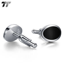 Classic MENS TT Two-Tone Silver/Black Oval Stainless Steel Cufflinks CU52 NEW