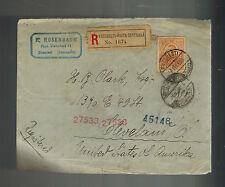 1909 Bucharest Romania Registered Cover to USA E Rosenbaum Judaica